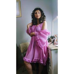Vintage 1960's Pink Peignoir Set Robe Nightgown